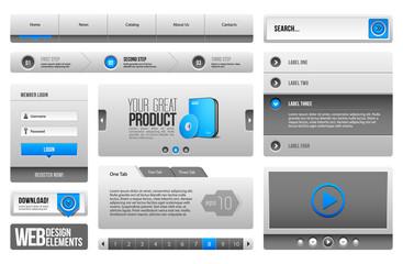 Modern Clean Website Design Elements Grey Blue Gray