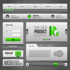 Modern Clean Website Design Elements Grey Green Gray