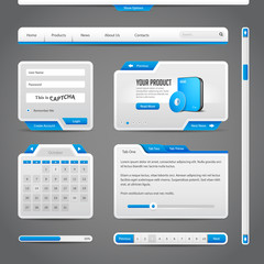 Web UI Controls Elements Gray And Blue On Dark Background