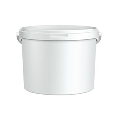 Opened White Tub Paint Plastic Bucket Container