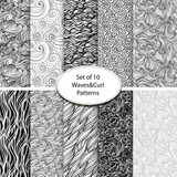 Set of 10 seamless waves and curls backgrounds - 67599465