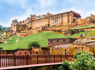 India, Rajasthan, panoramic view of  Amber Fort near Jaipur