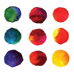 Set of watercolor hand painted gradient circles isolated on
