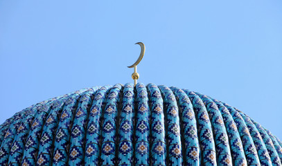 dome of the Mosque on a background blue sky