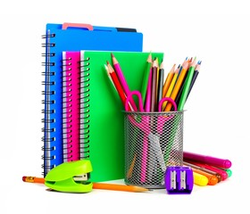 Group of colorful school notebooks and supplies