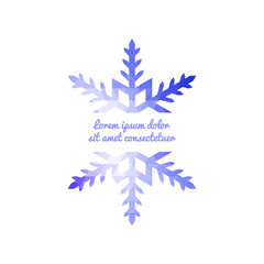 Blue geometric snowflake with place for your text