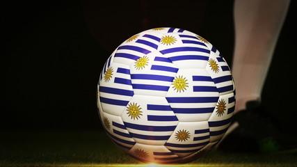 Football player kicking uruguay flag ball