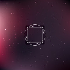 Geometric element, square with circle, starry space scene