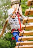 Boy climbing rope-ladder in adrenalin park poster