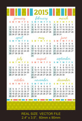"pocket calendar 2015, start on SundaySIZE: 2.4"" x 3.5"",  60mm x"