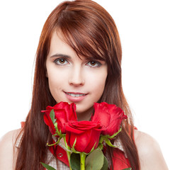 attractive girl holding red roses