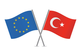 European Union and Turkey flags.