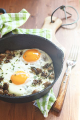 Fried eggs with mushrooms