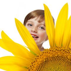 little girl and sunflower