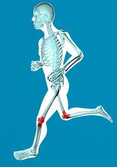 Uomo che corre visto ai raggi x con dolore ginocchia