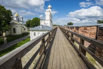 Wall of Novgorod Kremlin in Veliky Novgorod, Russia