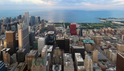 Summer view of Chicago skyscrapers from the height