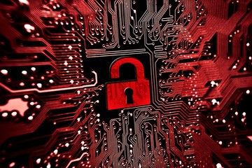 Hacked symbol on computer circuit board with open red padlock