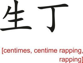 Chinese Sign for centimes, centime rapping, rapping
