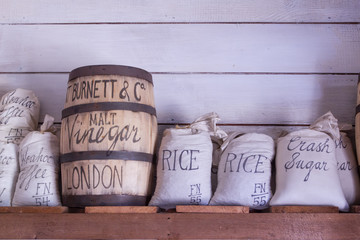 Vintage food bags on display.