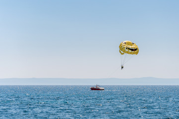 Parasailing over the Adriatic Sea