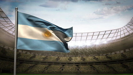 Argentina national flag waving on stadium arena