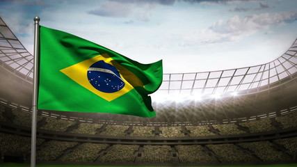 Brazil national flag waving on stadium arena
