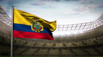 Ecuador national flag waving on stadium arena