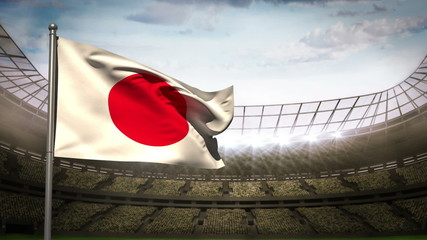 Japan national flag waving on stadium arena