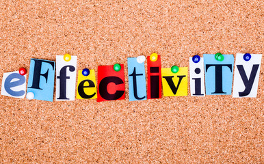 The word EFFECTIVITY on a bulletin board