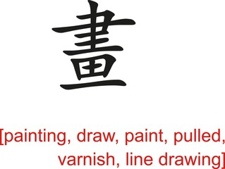 Chinese Sign for painting, draw, pulled, varnish, line drawing