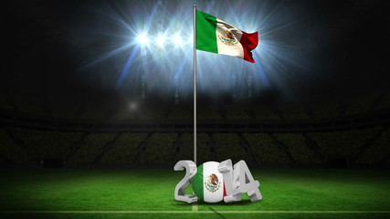 Mexico national flag waving on football pitch with message
