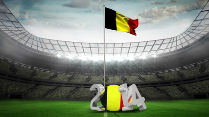 Belgium national flag waving in football stadium