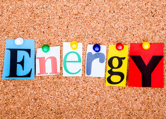 The word ENERGY on a bulletin board