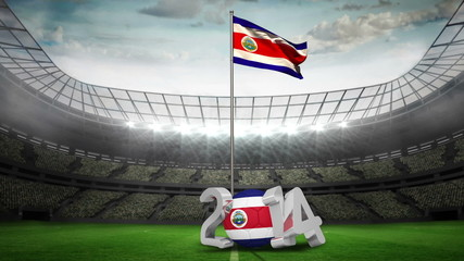 Costa Rica national flag waving in football stadium