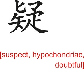 Chinese Sign for suspect, hypochondriac, doubtful