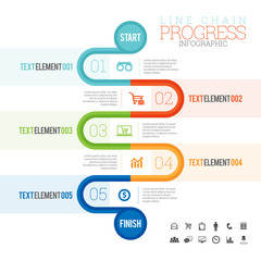 Line Chain Progress Infographic