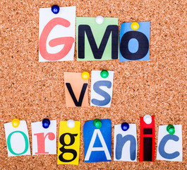 GMO vs organic on a bulletin board