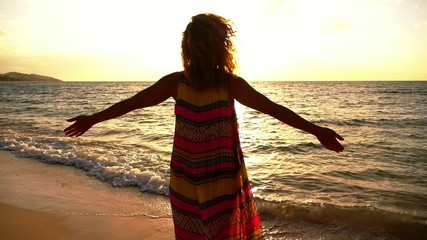 Beautiful Serene Woman Spreading Arms at Sunset. Slow Motion.
