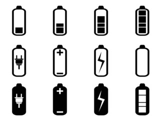 black battery icons set