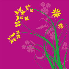 Purple Floral Ornament Vector