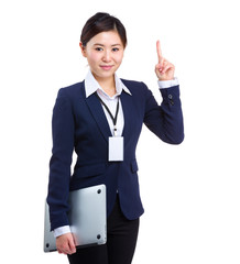 Business woman with laptop computer and finger up