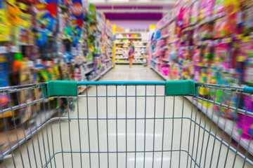 Shopping cart in toys department store