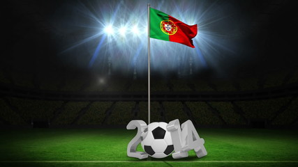 Portugal national flag waving on flagpole with 2014 message