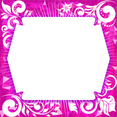 Frame for photo on a magenta  background with triangles