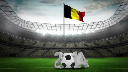Belgium national flag waving on flagpole with 2014 message