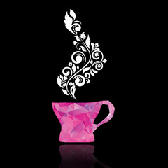 Magenta mug of triangles