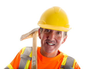 Construction worker isolated