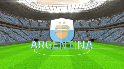 Argentina world cup message with badge and text
