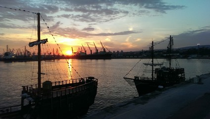 Pleasure sailing ships moored in Varna port. Bulgarian sunset